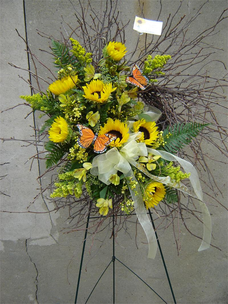 Birch wreath with sunflowers